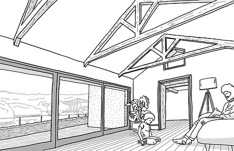 Stanton extension sketch Anglesey North Wales Architect Architecture