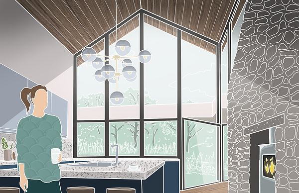 Gallt Y Rhedyn extension interior design sketch Anglesey North Wales Architect Architecture