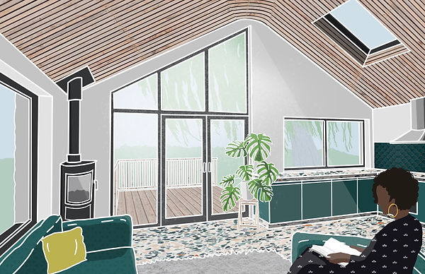 Parc Tyddn extension interior design sketch Anglesey North Wales Architect Architecture
