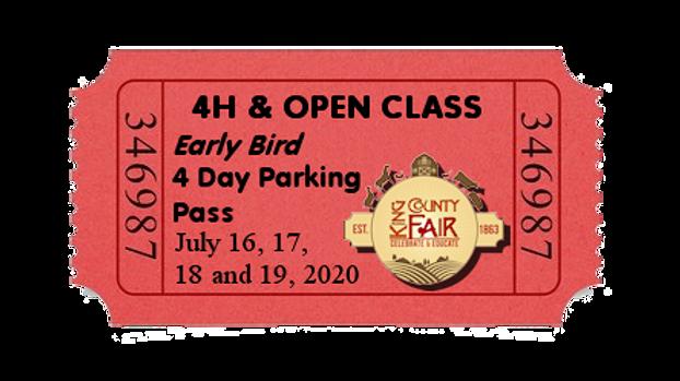 4H & Open Class EARLY BIRD Parking Pass