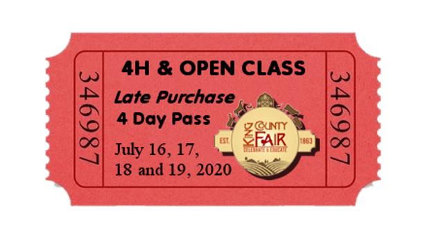 4H & Open Class LATE PURCHASE- 4 Day Pass