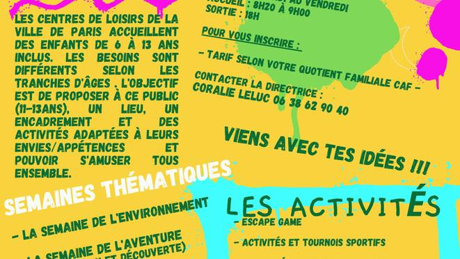 Programme du centre de loisirs préados - Paris Centre
