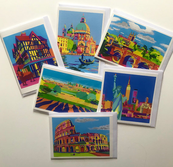A set of six cards depicting city scenes.