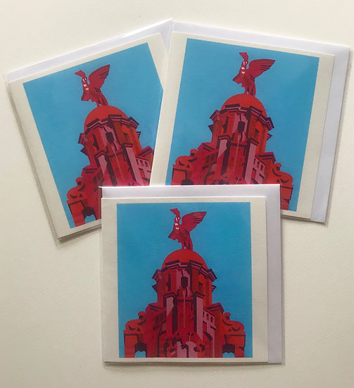 A set of six identical cards celebrating Liverpool winning the Premier League