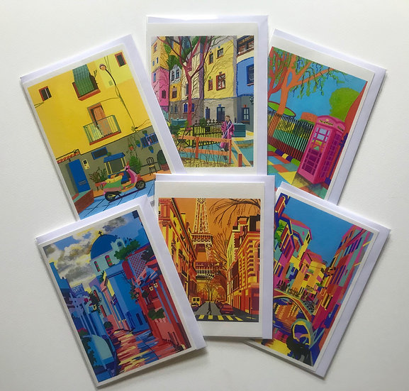 A set of six cards depicting city street scenes