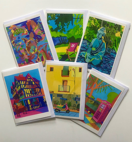 A selection of six cards.