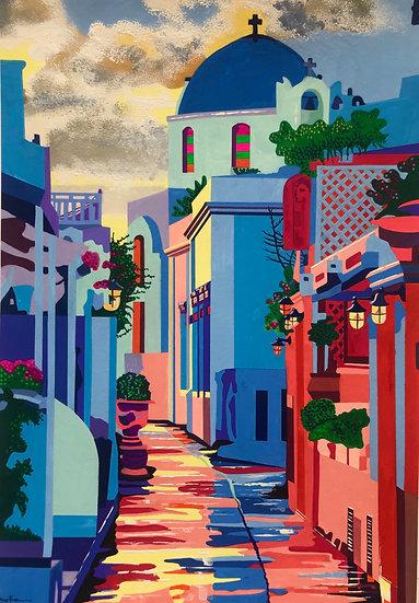 A Santorini street 250mm W x 340mm H