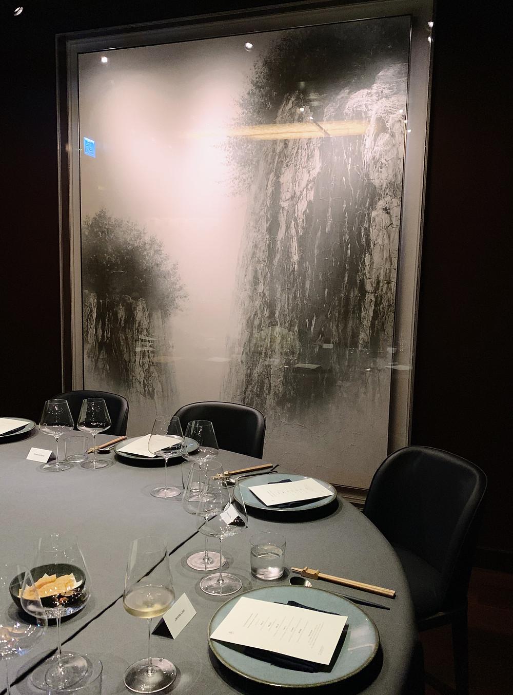 Interiors at PIIN Wine Restaurant in Hong Kong