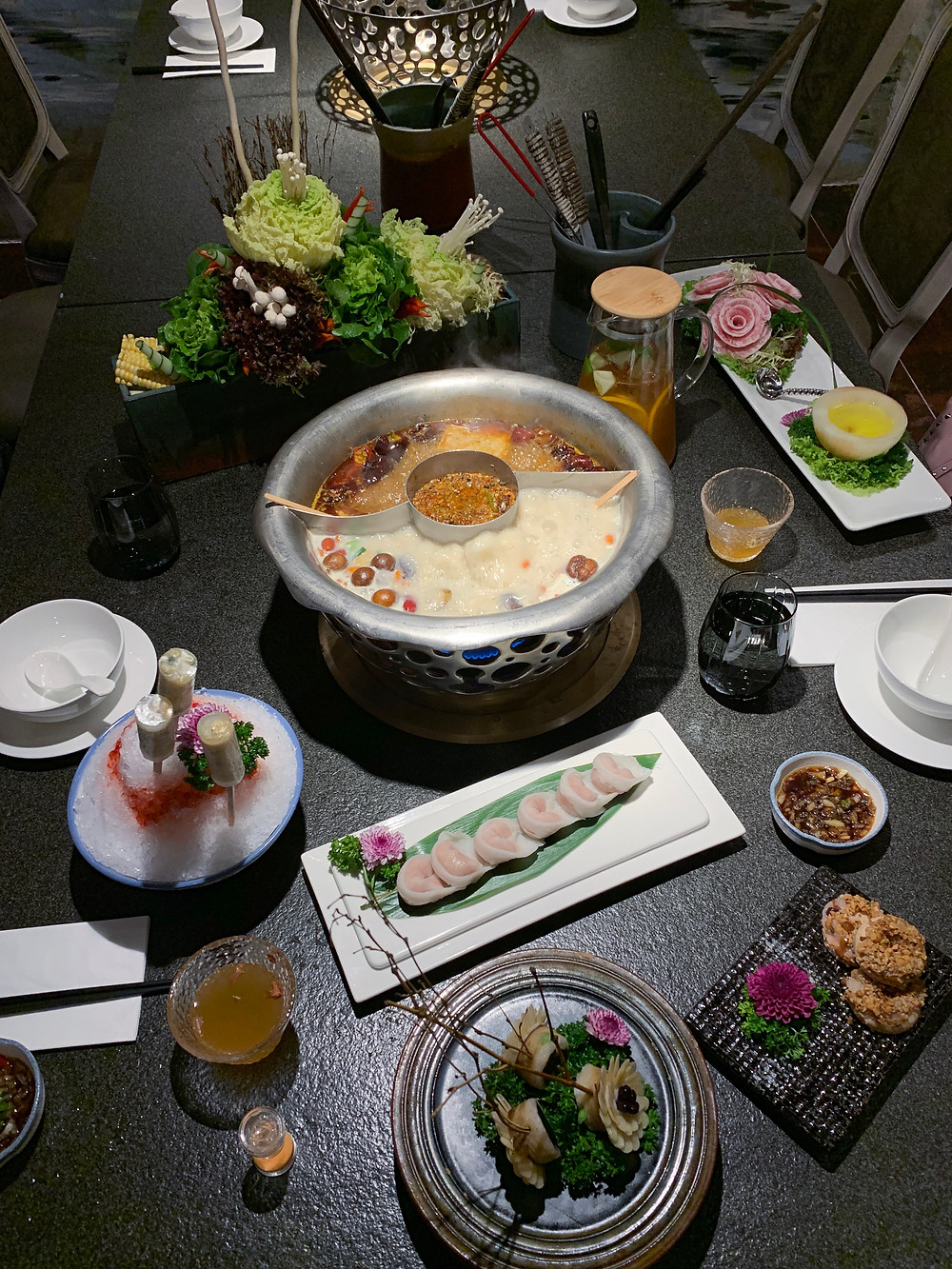 Food at Quan Alley hot pot restaurant in Hong Kong