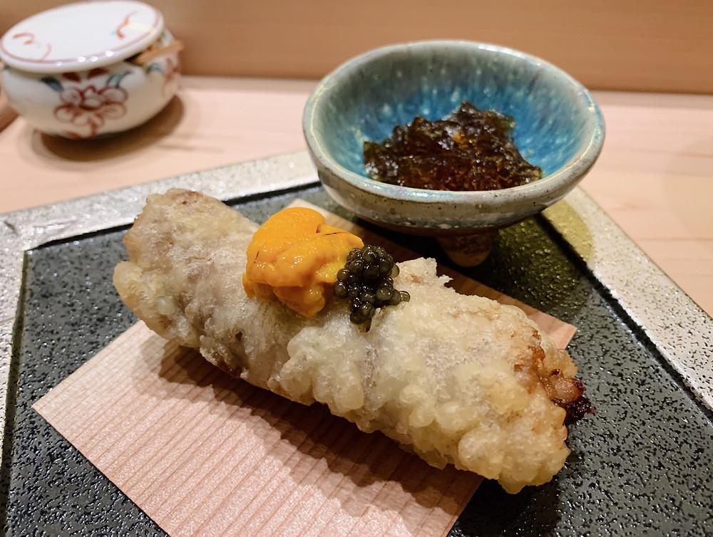 Food at Kakure Japanese restaurant at Landmark in Hong Kong