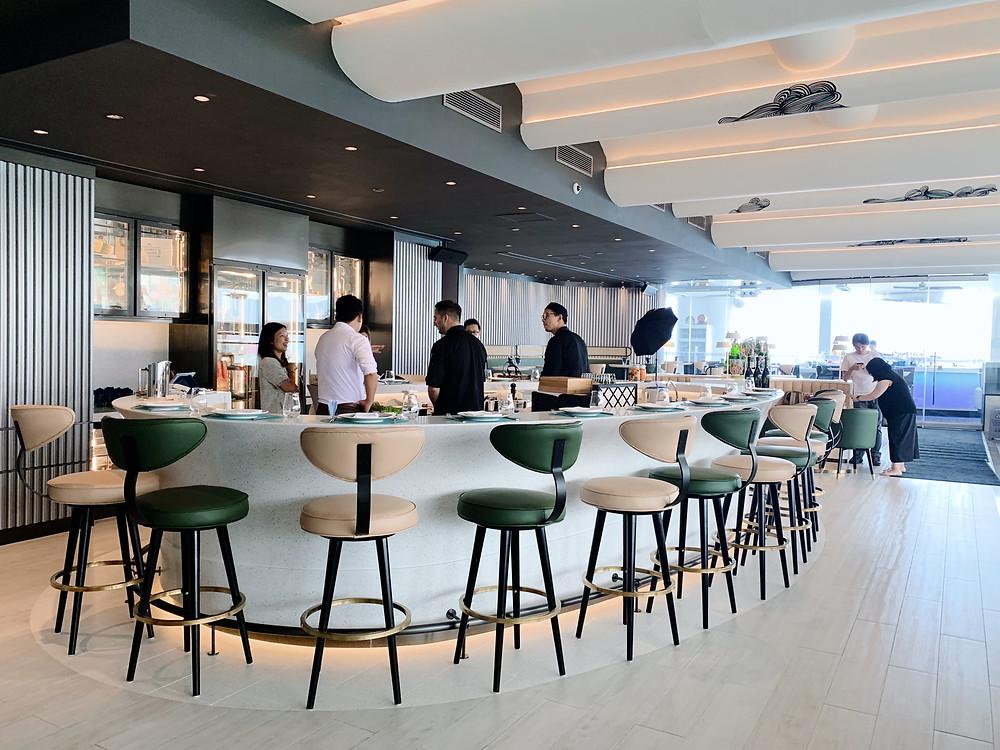 Interiors at at Skye bar and restaurant at the Park Lane Hotel in Hong Kong