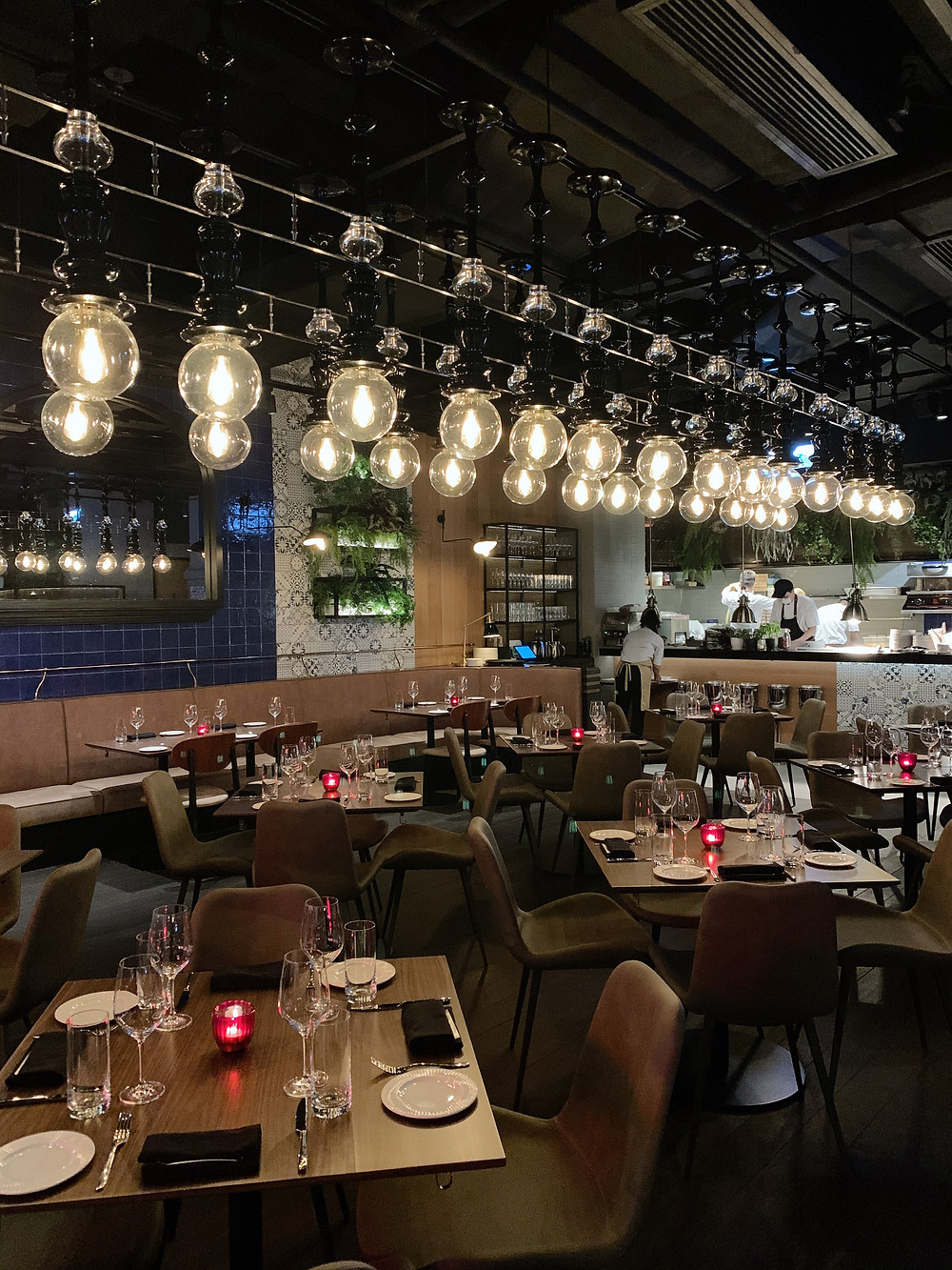 Interiors at Fiamma Italian restaurant in Hong Kong