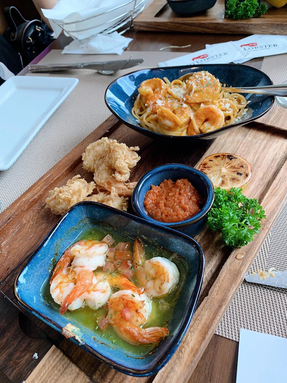 Food at Red Lobster restaurant in Causeway Bay Hong Kong