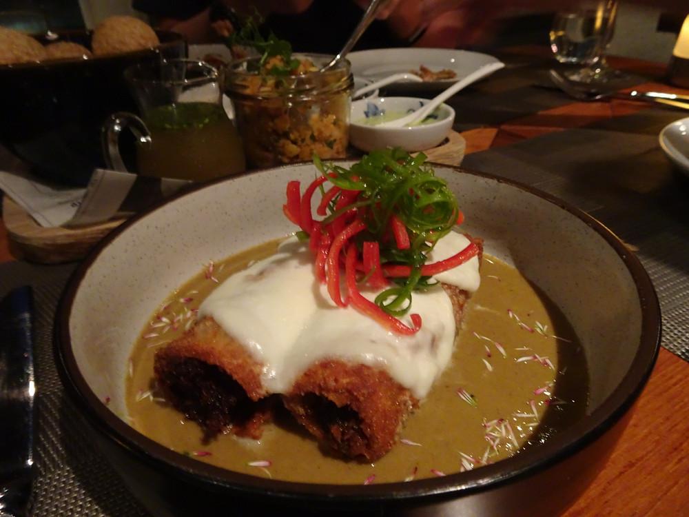 Food at The Envoy restaurant at The Pottinger Hotel in Hong Kong