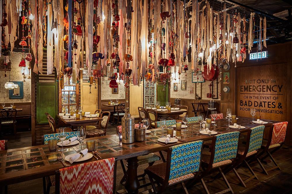 Interiors at Chaiwala Indian restaurant in Hong Kong