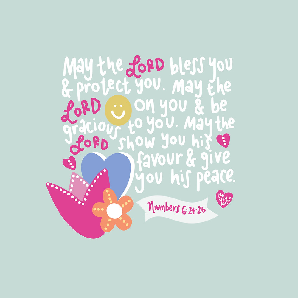 Numbers 6 the blessing Christian bible scripture art by The Yay Project by Jenni Lien