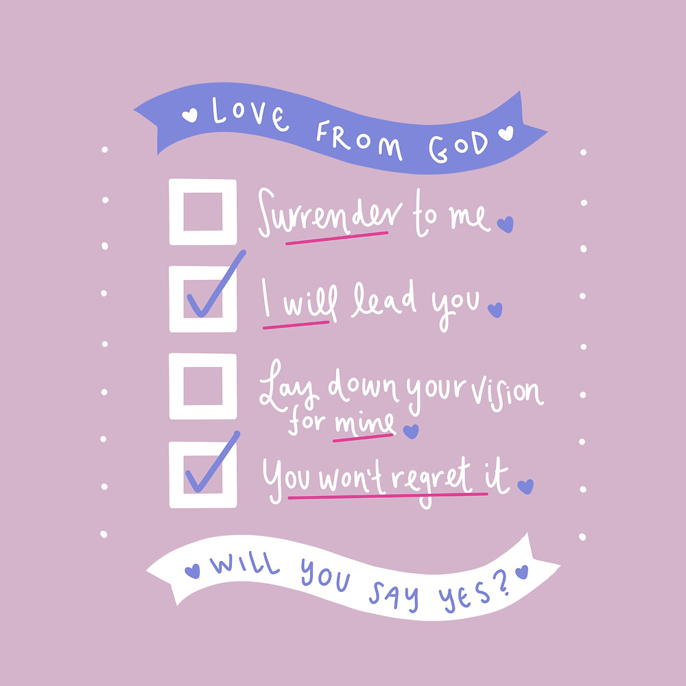 Christian graphic art surrender to God by The Yay Project Jenni Lien