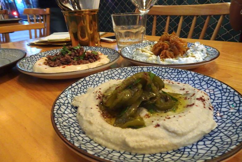 Food at Mama Malouf Middle Eastern restaurant in Hong Kong