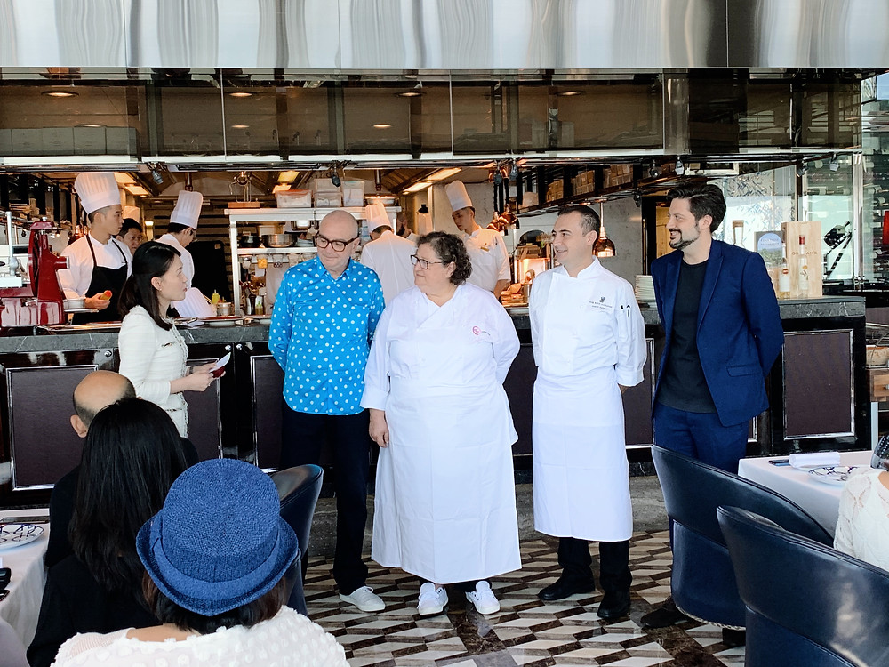 Valeria Picini and chefs at Tosca, Ritz-Carlton Hotel, Hong Kong