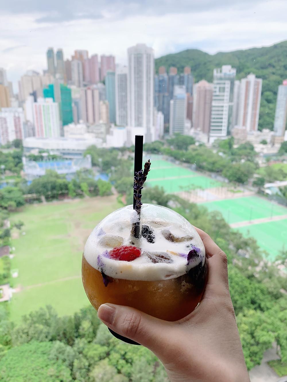 Cocktail at at Skye bar and restaurant at the Park Lane Hotel in Hong Kong