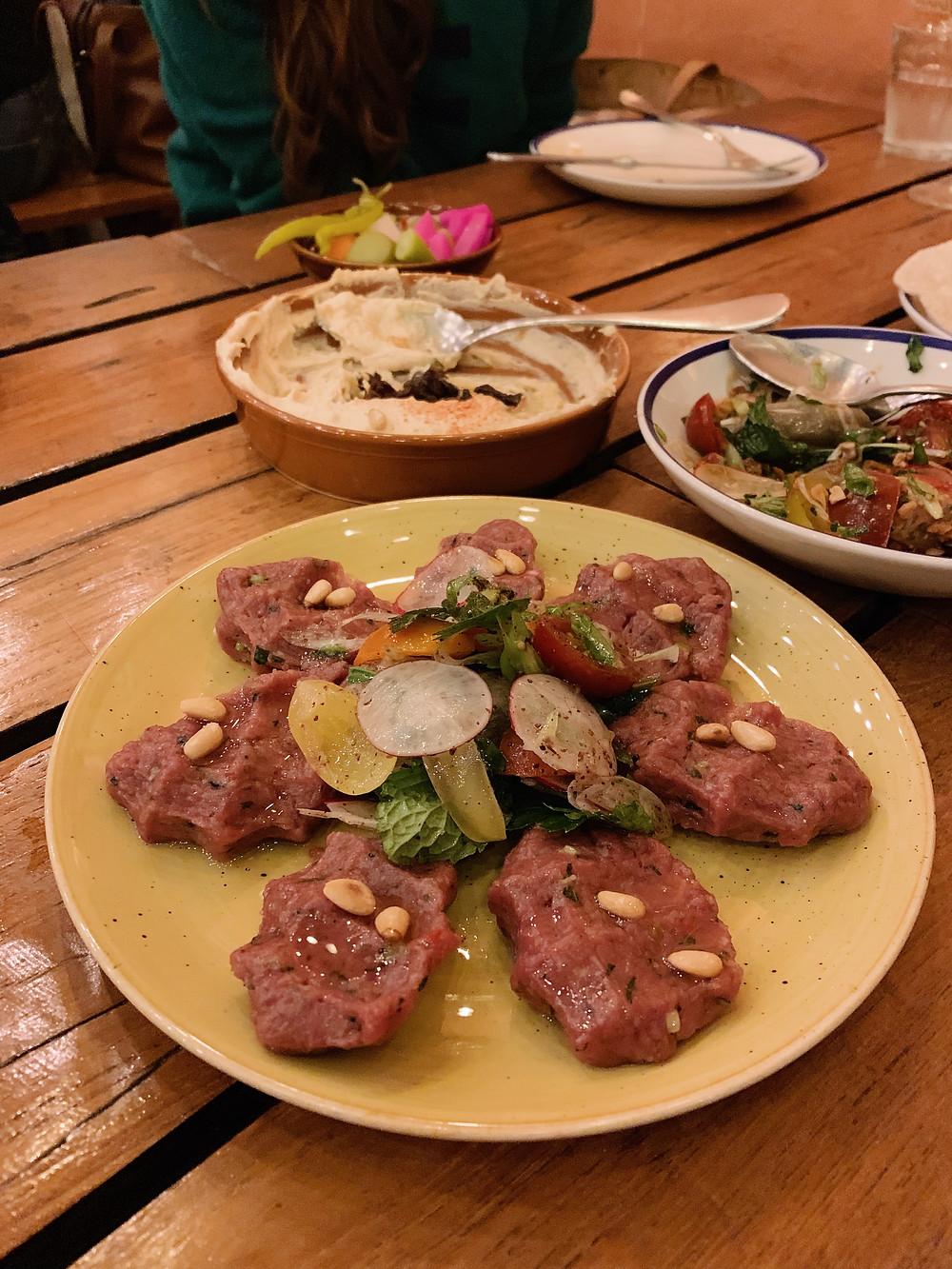 Food at Maison Libanaise restaurant in Hong Kong