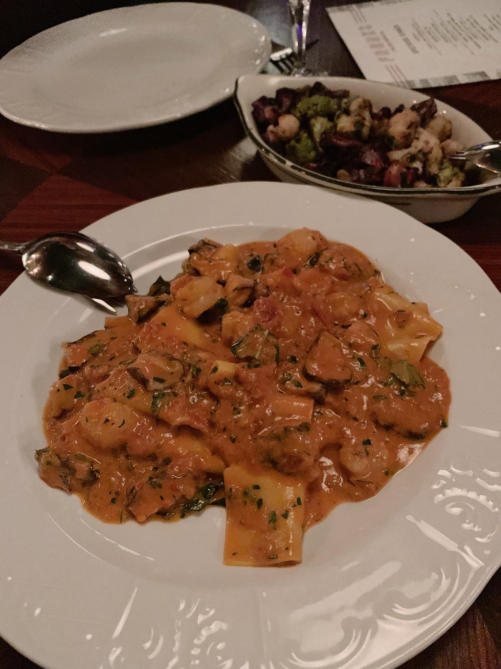 Food at Franks Italian restaurant in Hong Kong