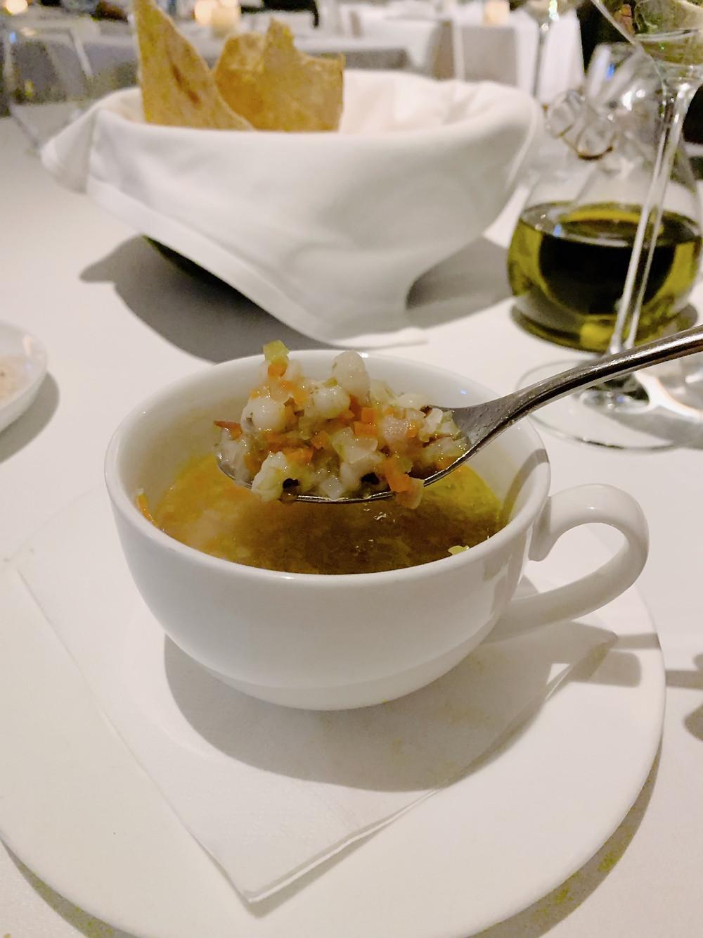 Food at Isola Italian restaurant at IFC mall in Hong Kong
