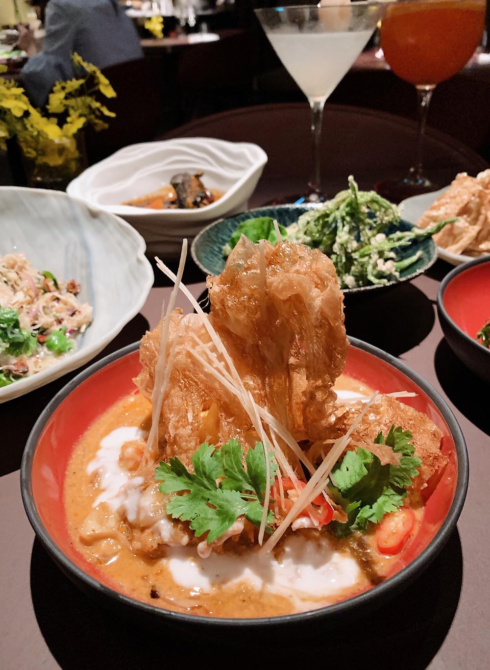 Food at Aaharn Thai restaurant in Hong Kong