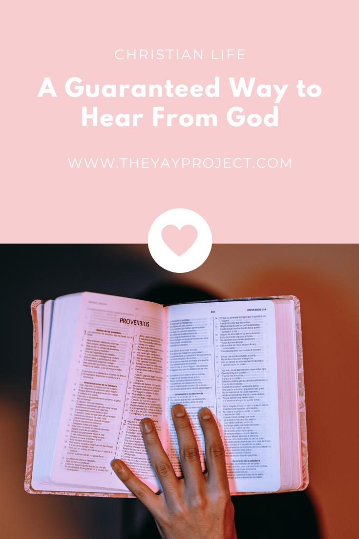 Christian blog graphic on how to hear from God by The Yay Project Jenni Lien Pinterest