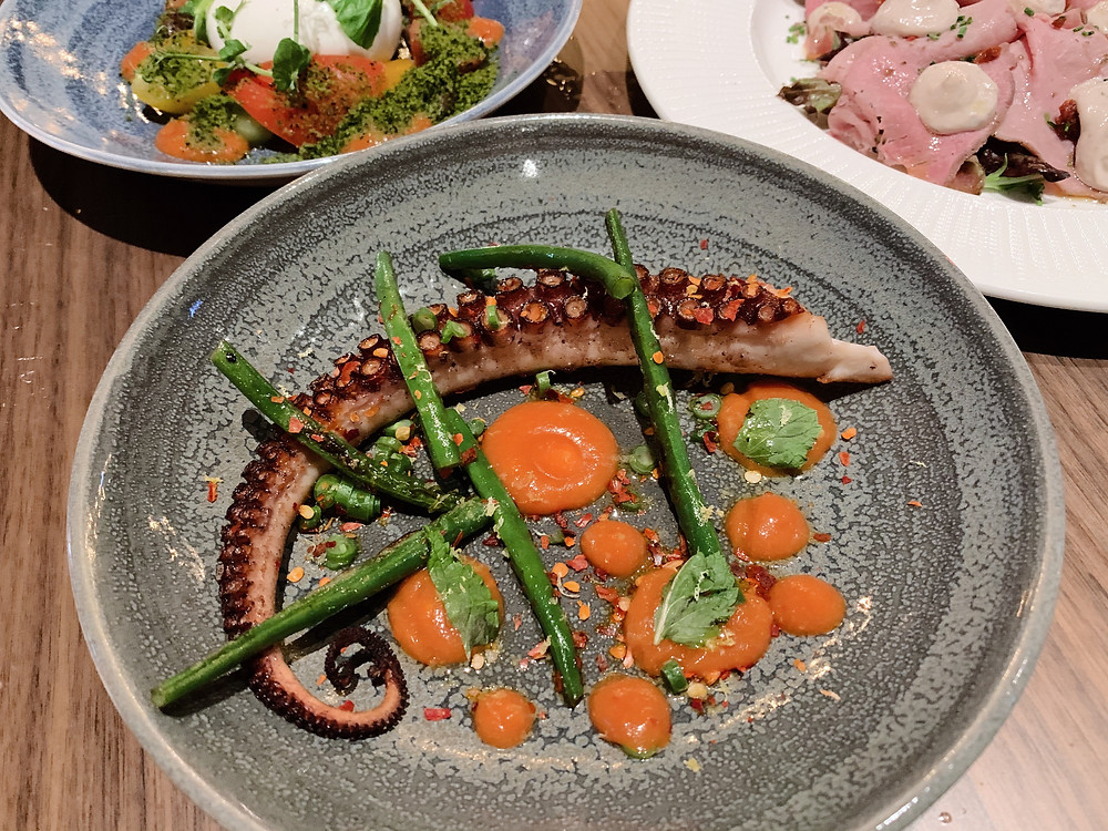 Octopus at Fiamma Italian restaurant in Hong Kong