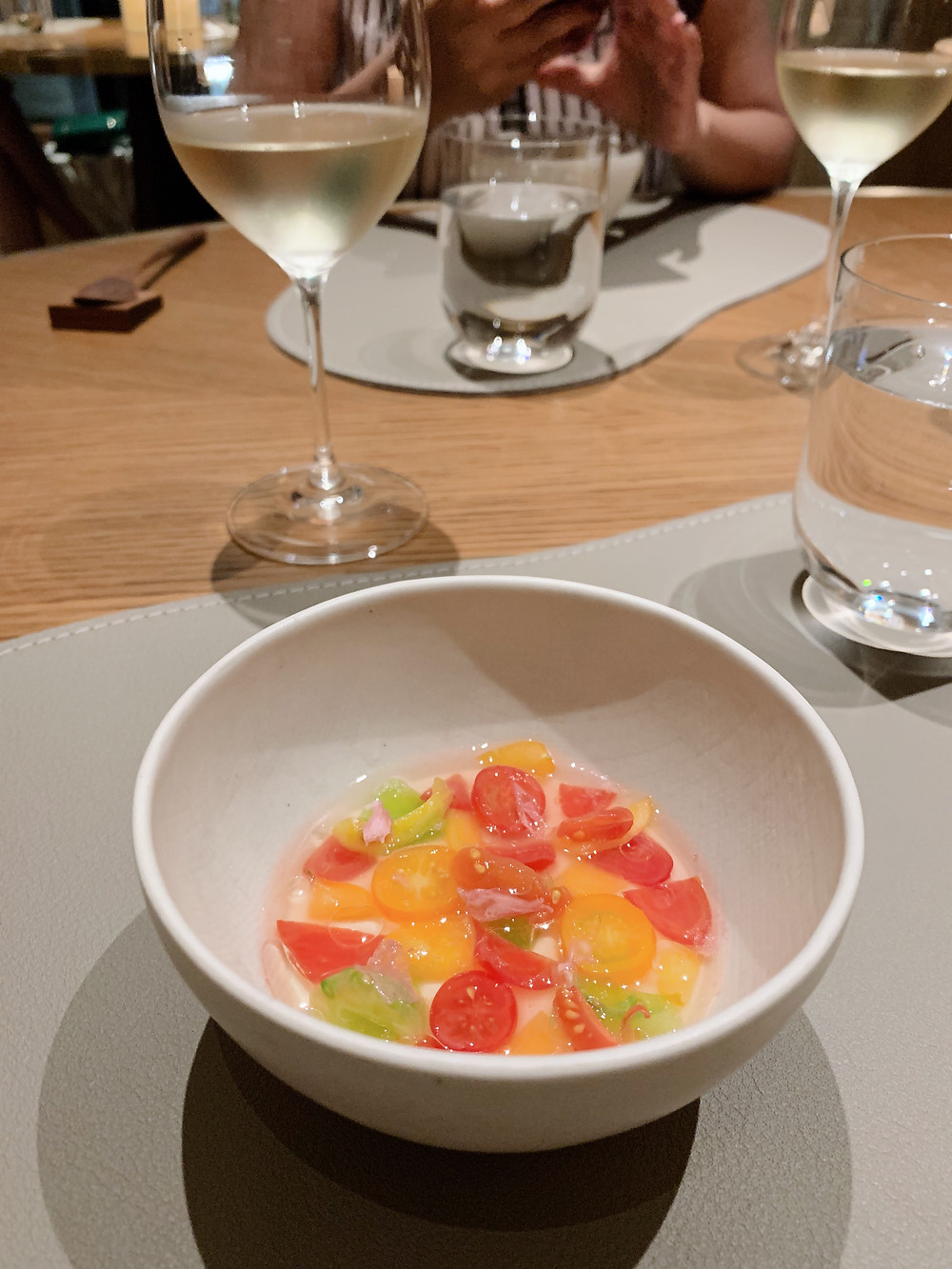 Food at Amber restaurant by Richard Ekkebus in Hong Kong