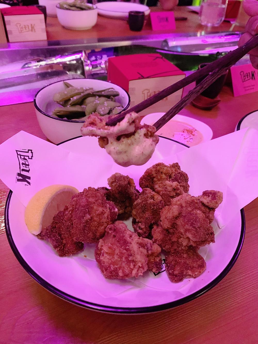 Fried chicken at TMK Japanese sushi restaurant in Hong Kong