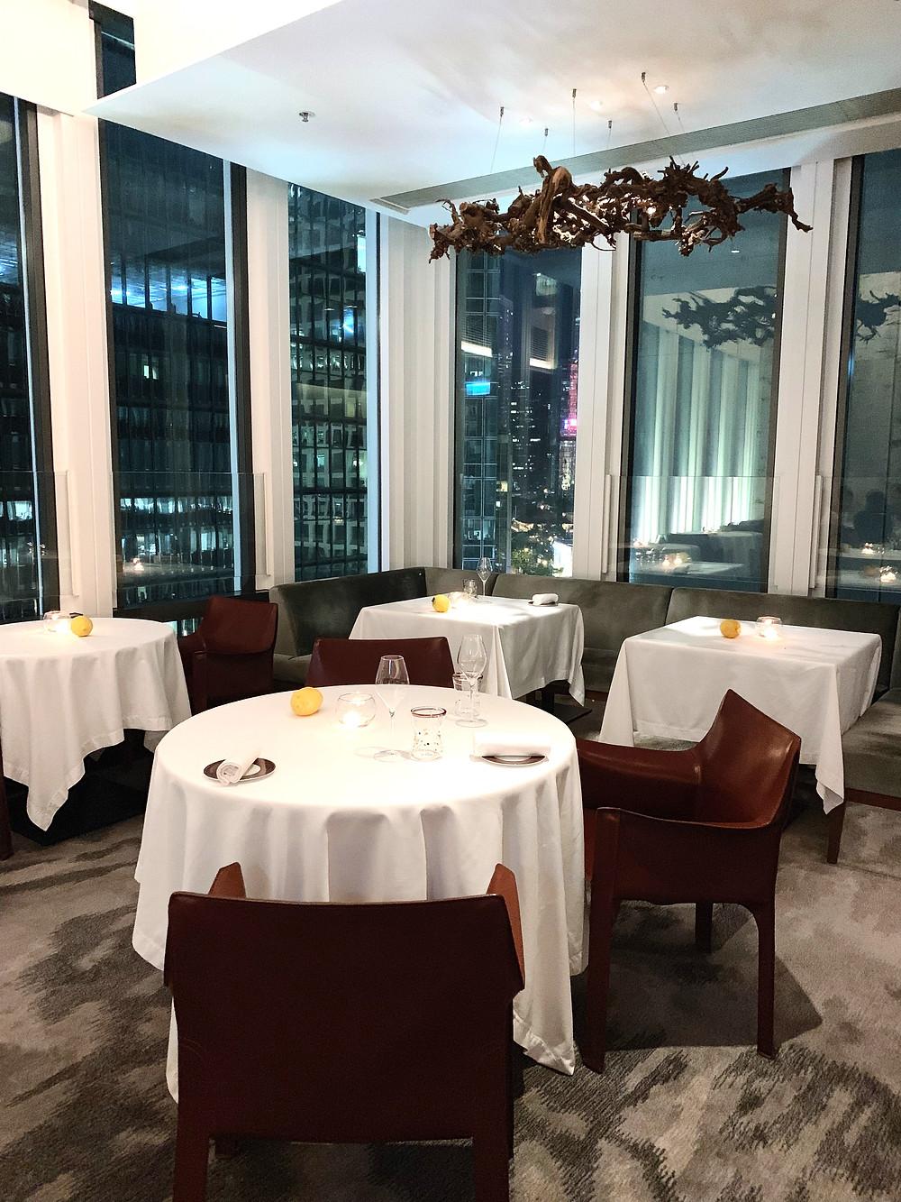 Interiors at Octavium Italian restaurant in Hong Kong