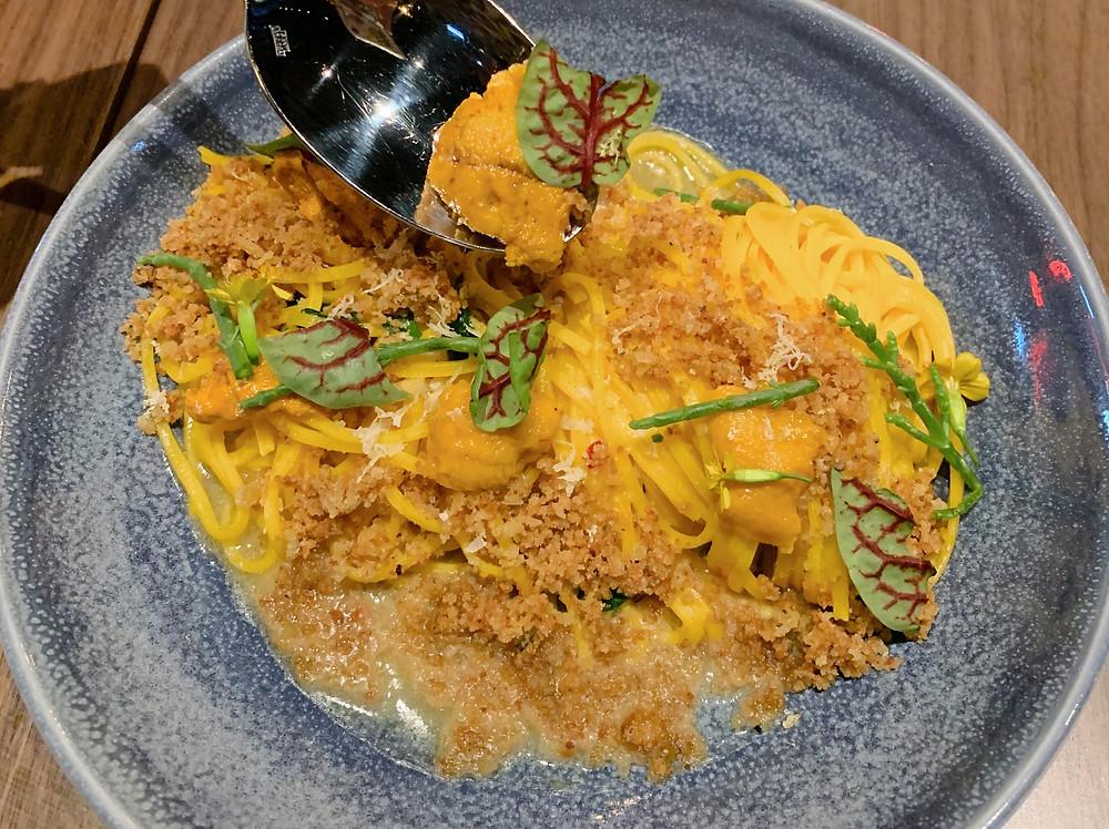 Uni pasta at Fiamma Italian restaurant in Hong Kong