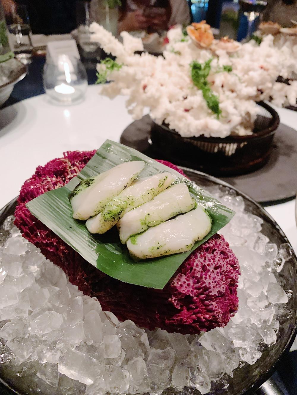 Food at Aqua restaurant in Hong Kong