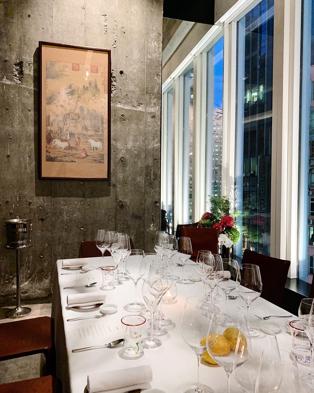Private room at Octavium Italian restaurant in Hong Kong