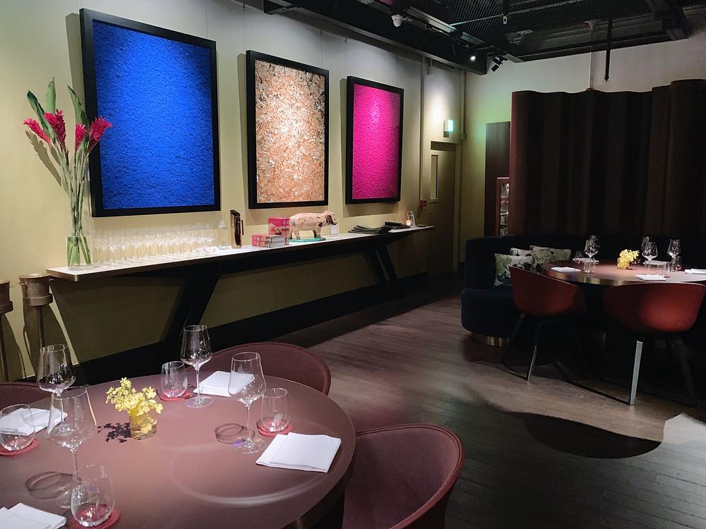 Interiors at Aaharn restaurant in Hong Kong