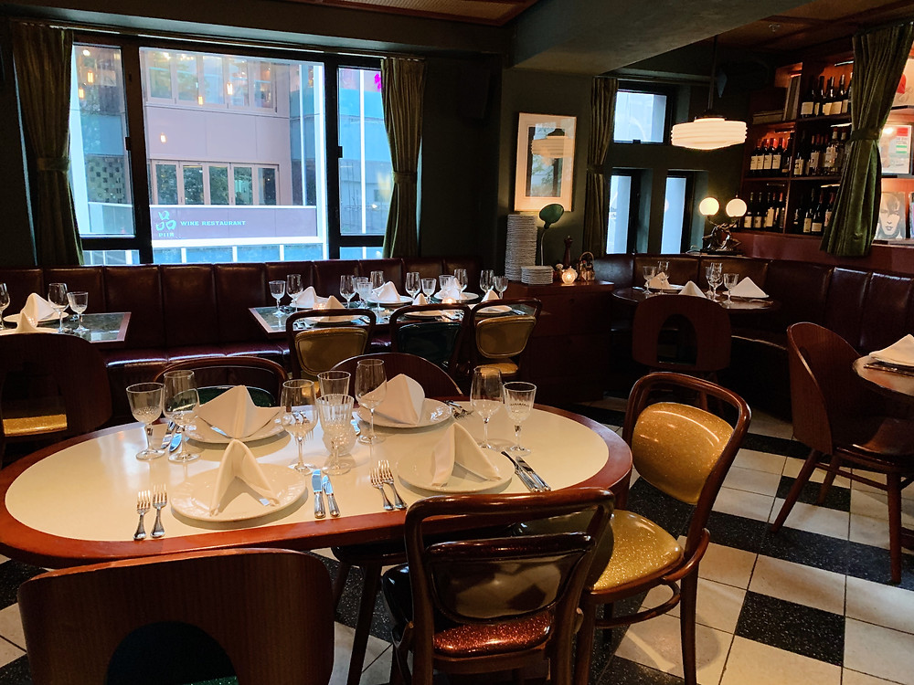 Interiors at Franks Italian restaurant in Hong Kong