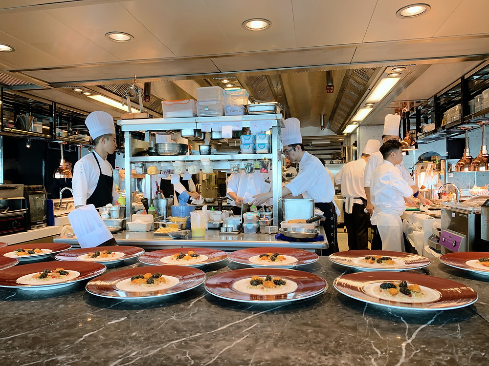 Kitchen at Tosca restaurant, Ritz-Carlton Hotel, Hong Kong