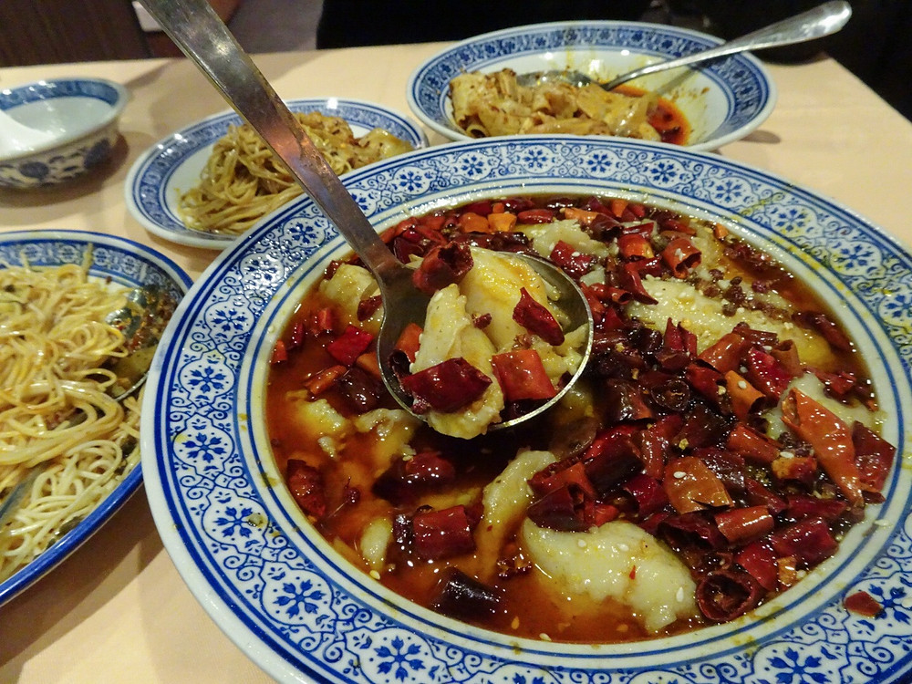 Food at Sijie Sichuan restaurant in Hong Kong