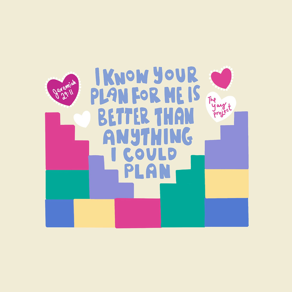 Colorful Christian art on trusting God's plan by The Yay Project Jenni Lien
