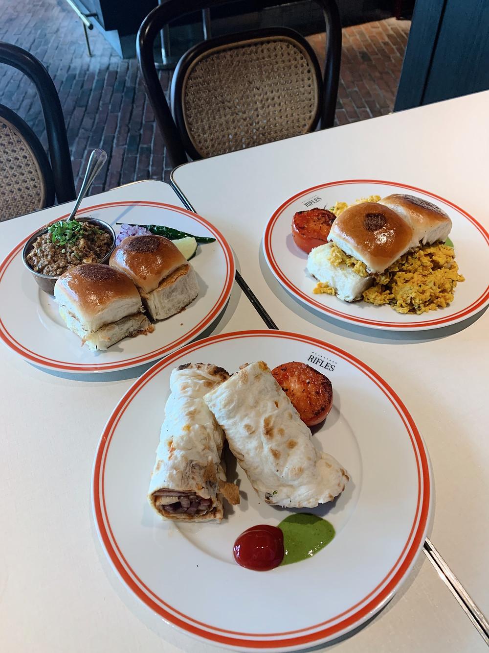 Breakfast dishes at Rajasthan Rifles restaurant in Hong Kong