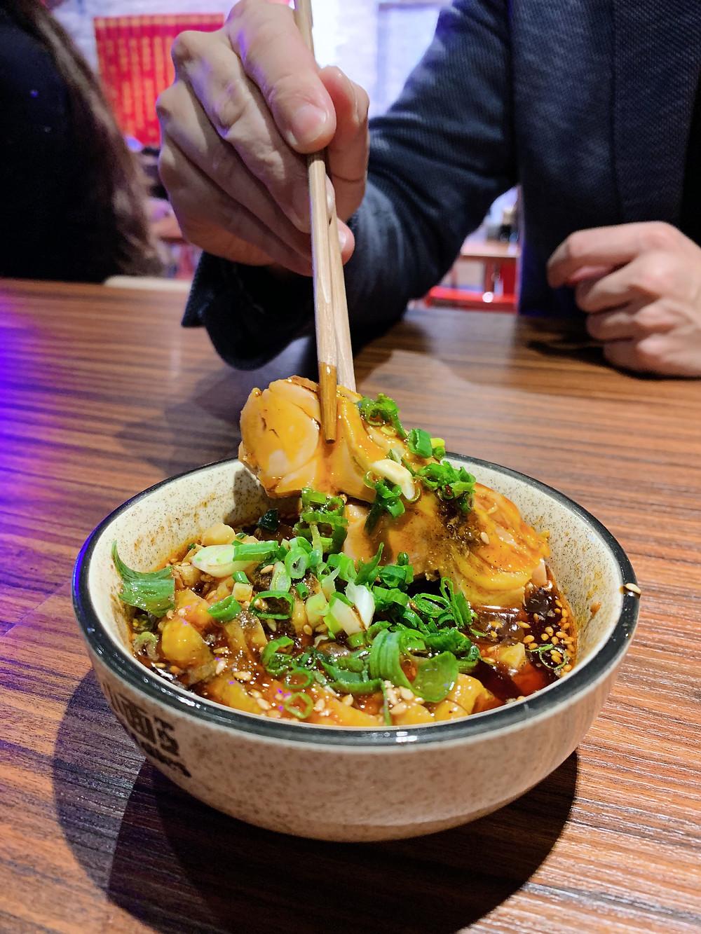 Food at Crazy Noodles restaurant in Hong Kong