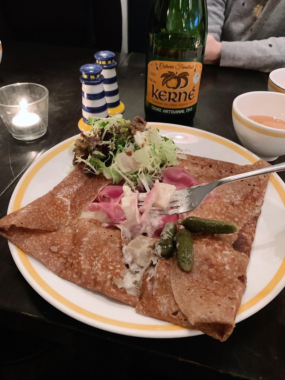 Food at La Creperie restaurant in Hong Kong