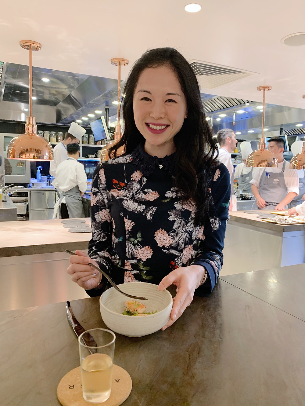 Jenni Lien food blogger at Amber restaurant in Hong Kong