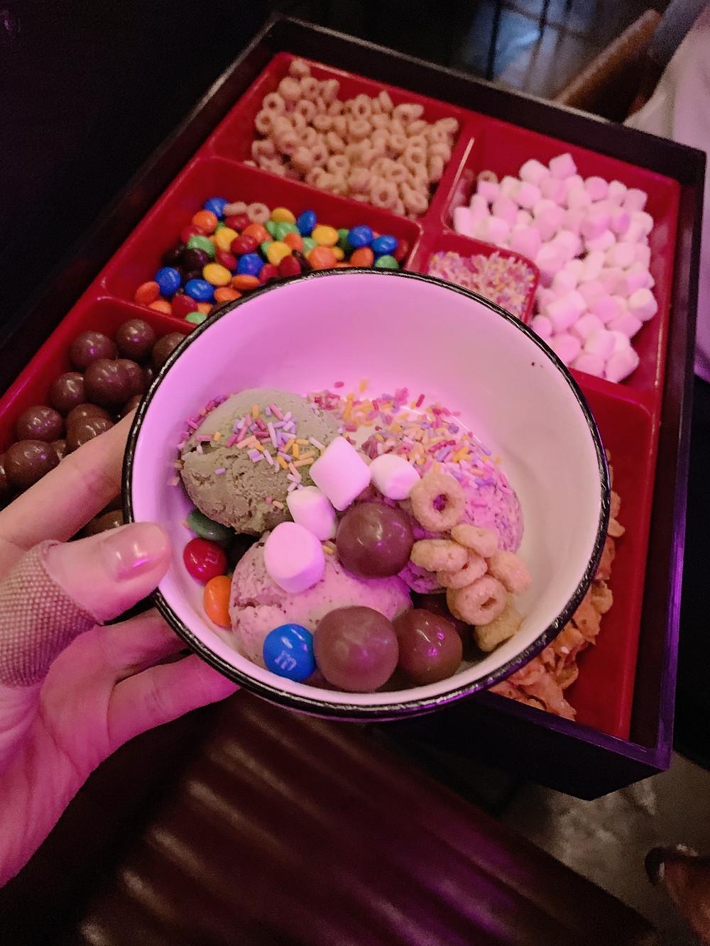Ice cream at TMK Japanese sushi restaurant in Hong Kong