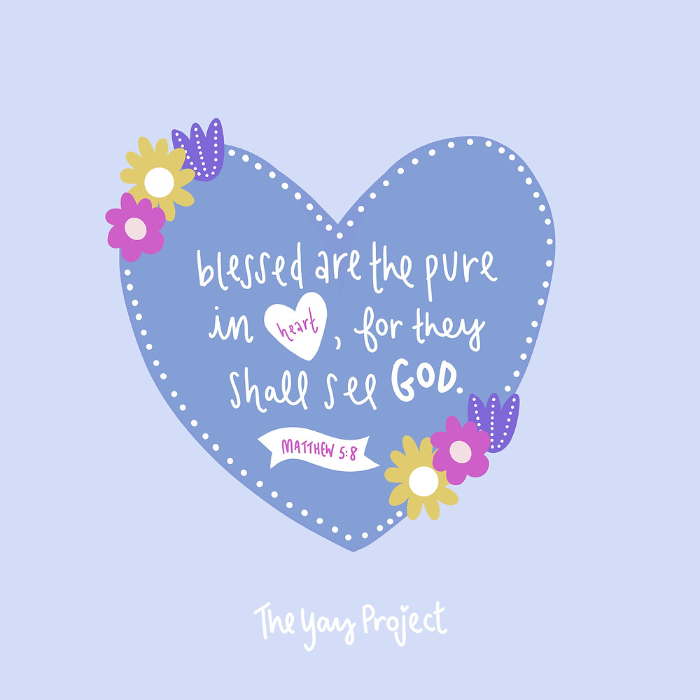 Christian art illustration graphic on Matthew 5:8 pure heart by Jenni Lien The Yay Project