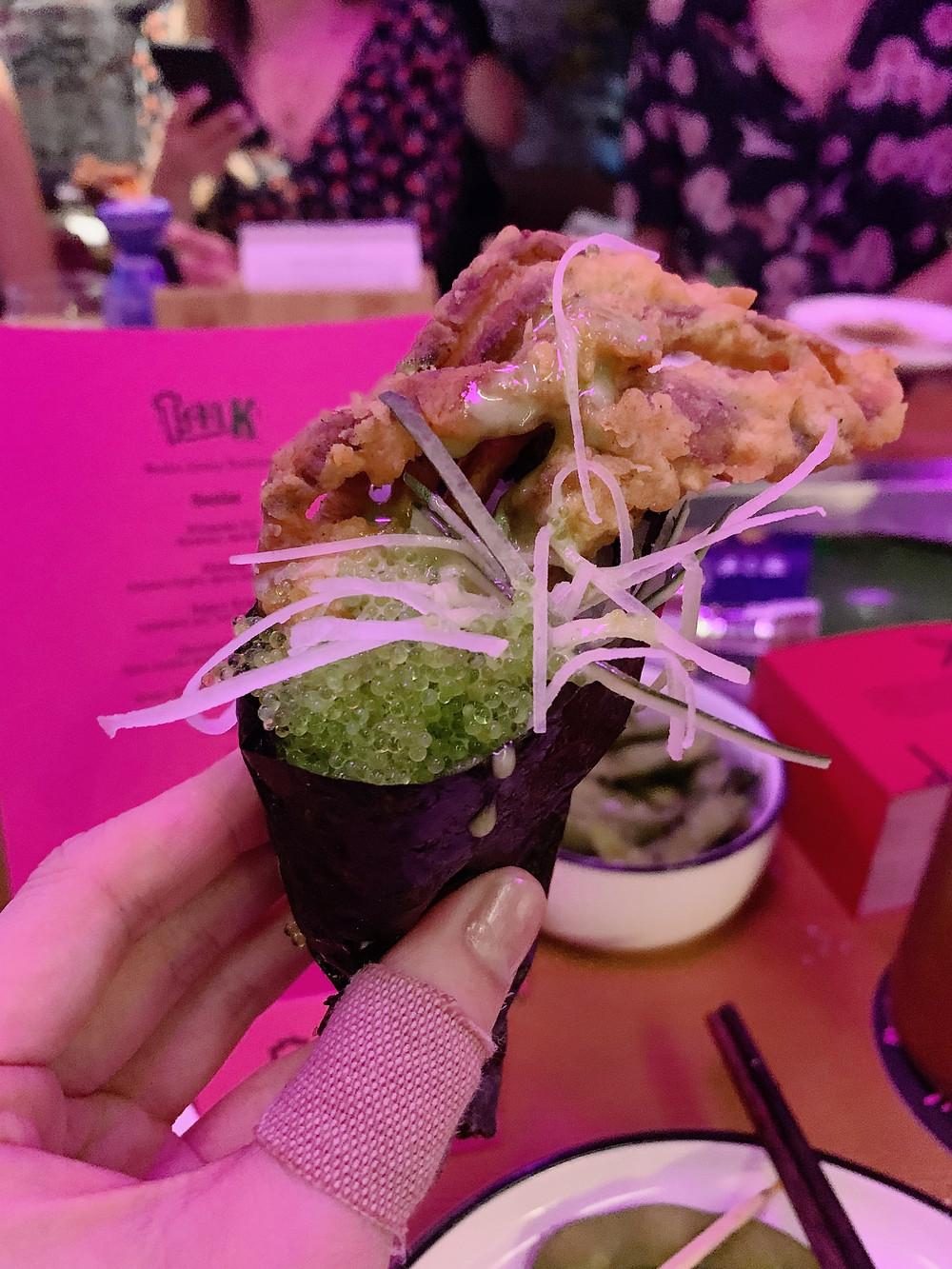 Hand rolls at TMK Japanese sushi restaurant in Hong Kong