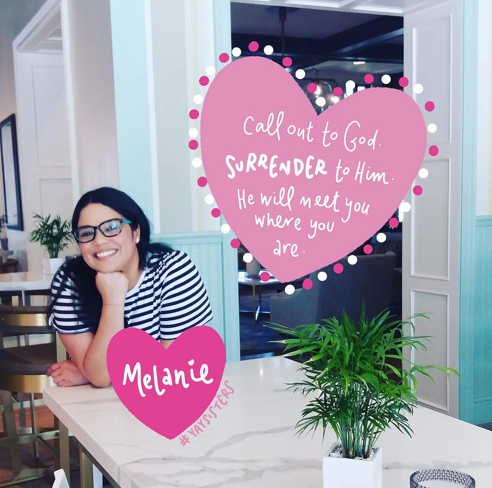 Melanie testimony on The Yay Project christian blog