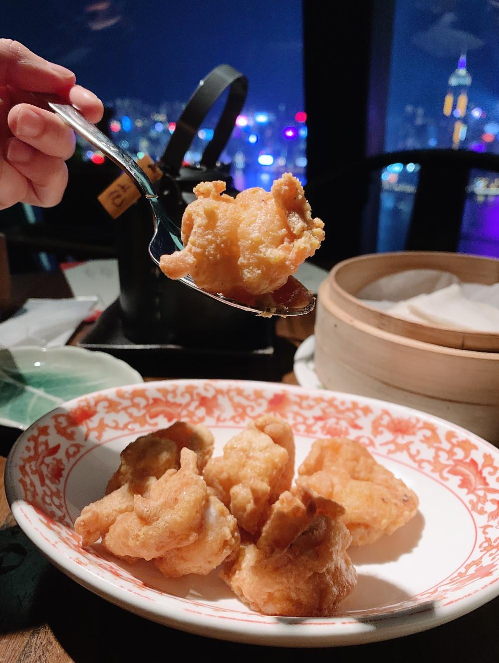 Prawns at Hutong restaurant in Hong Kong